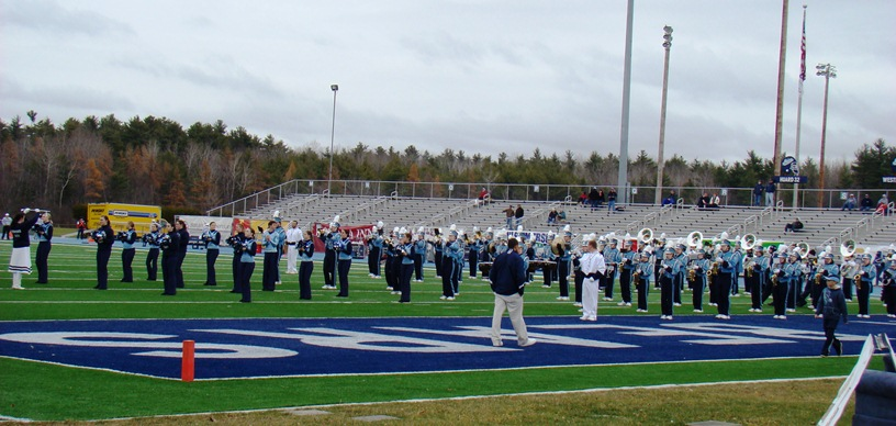 University of Maine marching band at Morse Field in Orono