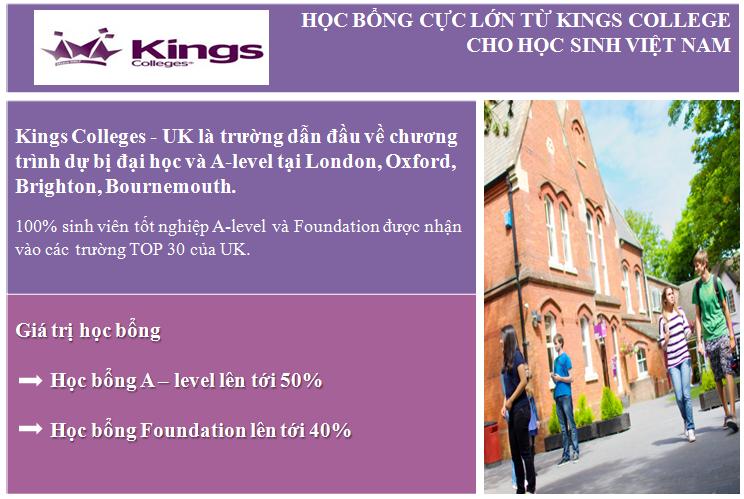 Kings Colleges, UK - Con đường chuyển tiếp vào các trường Đại học Top 30 Anh Quốc